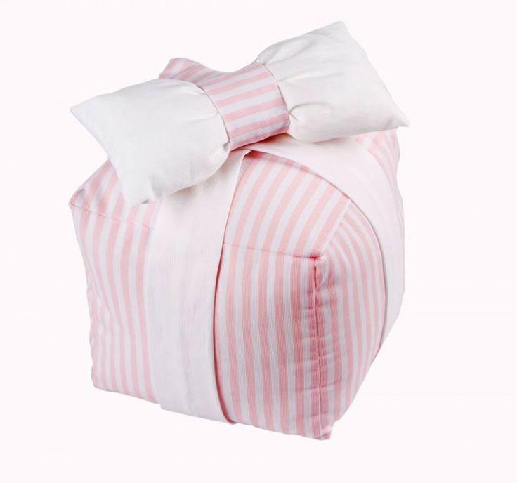 Διακοσμητικός κύβος-μαξιλάρι λευκό-ροζ/Box Pillow Whtie & Pink Stripes