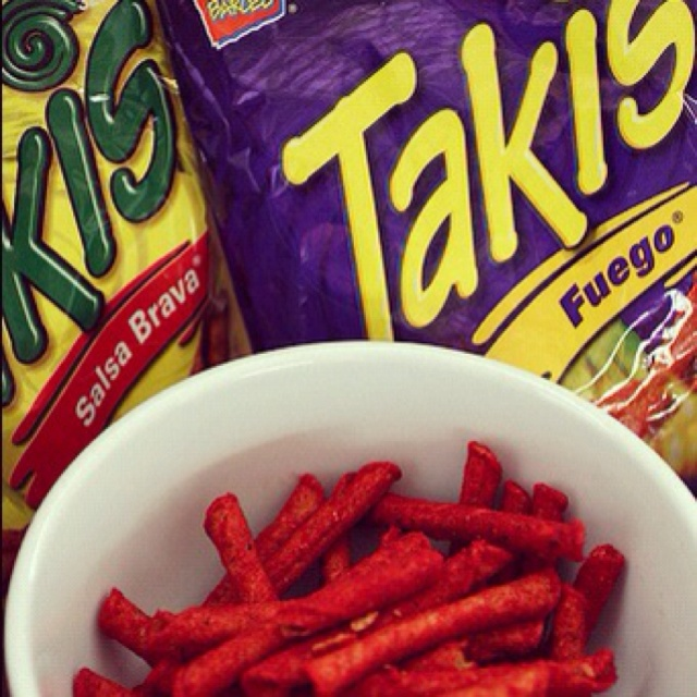 Takis! these are probably the most healthy and spicy chips for me... my favorite!!! you can laugh