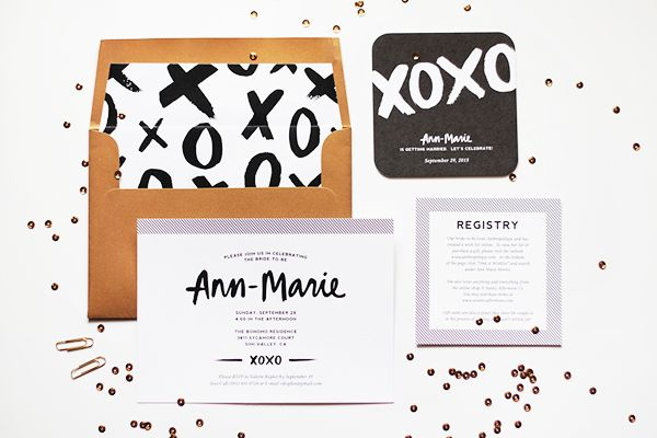 Oh So Beautiful Paper: Ann-Marie's Modern Hand Lettered Bridal Shower Invitations