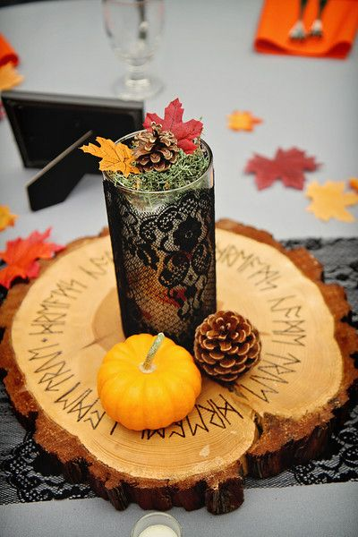 104 best centerpieces and decorations images on pinterest bottle wedding guest table centerpieces black lace to give it that vintagevictorianelegant feeling wooden centerpieces woodsymedieval theme with runes wood junglespirit Choice Image