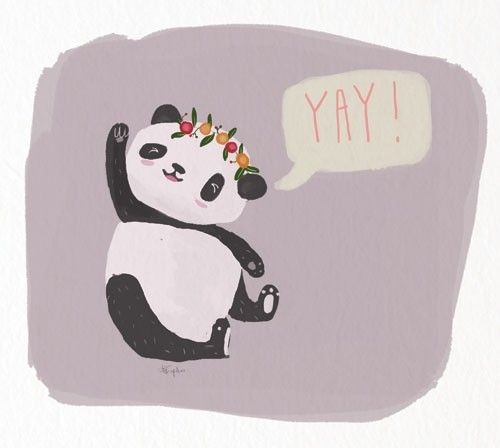 Abi Tompkins Illustration - abigail, tompkins, abigail tompkins, trade, sweet, cute, picture book, greetings cards, stationary, digital, painted, photoshop, textured, fiction, young, animal, panda, flowers, words, text, type
