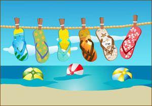Clip Art Of Flip Flops Hanging On A Line