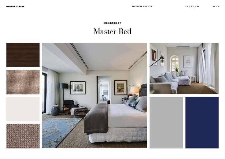 Vaucluse project | Master Bed moodboard by Melinda Clarke Interiors