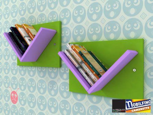Set 2Pz Libreria modulare Design cameretta VERDE LILLA made in italy #cameretta #mensola #design