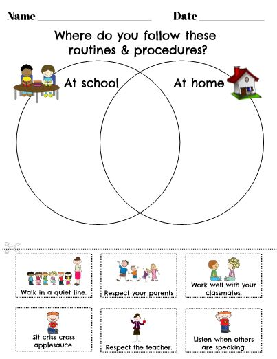 Venn Diagrams are great graphic organizers for your students to use when comparing things. Use this template at the beginning of the year to reinforce routines and procedures for school and home, or duplicate and edit this original to add your own twist.