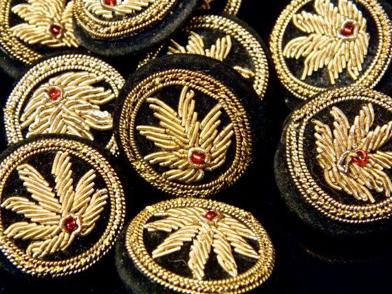 Unusual Vintage Indian Embroidered Buttons Zardozi by Luxethnik, $89.00