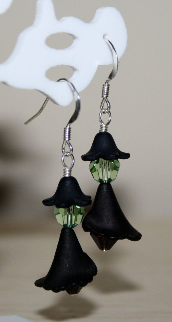 6580,- Halloween Witch Earrings Wicked Witch by HoneysuckleJewelscom