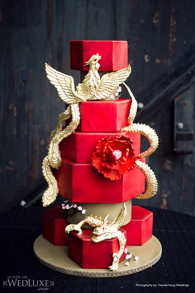 Shanghai inspired red and gold wedding cake with sugar sculpted dragon and phoenix painted in 24 karat gold. Created by Cakes by Konstadin (konstadin.com)