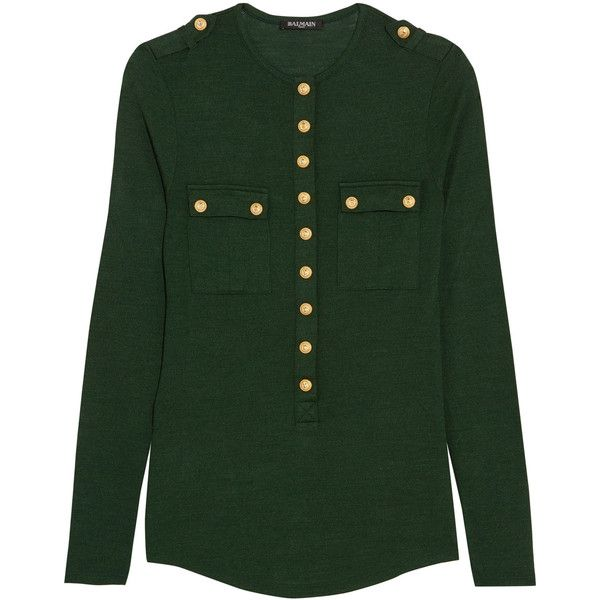 Balmain Button-detailed wool and silk-blend jersey top (1,315 CAD) ❤ liked on Polyvore featuring tops, balmain, button top, woolen tops, button jerseys, jersey top and green jersey