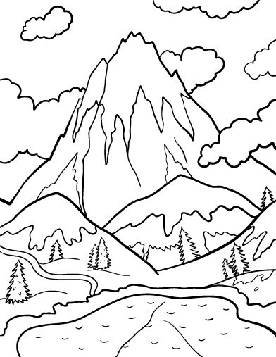 Printable mountain coloring page. Free PDF download at http://coloringcafe.com/coloring-pages/mountain/