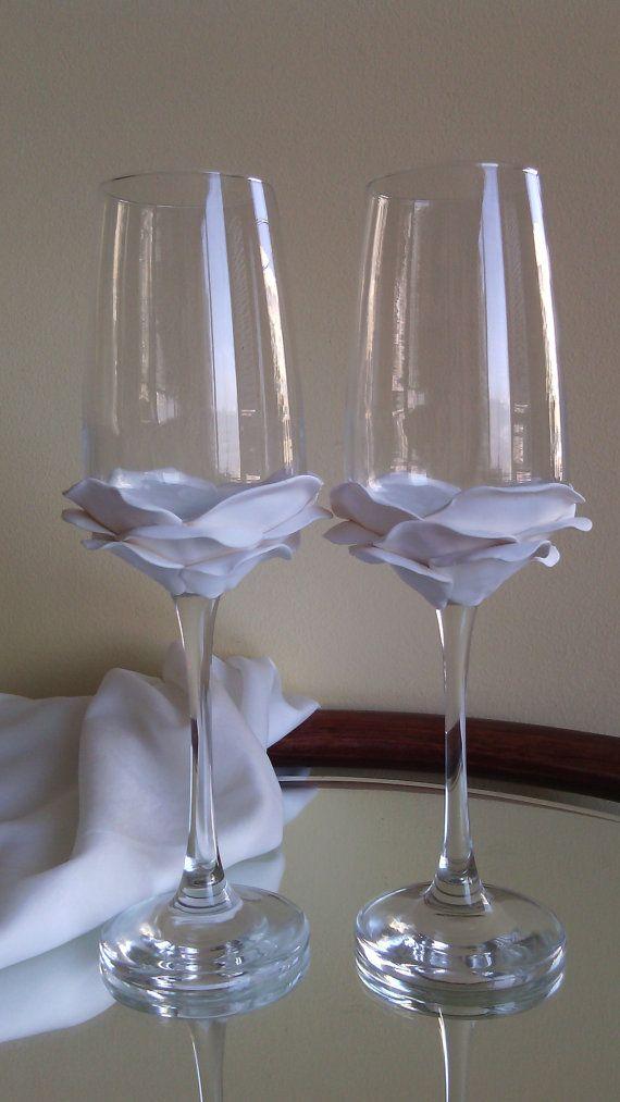 Wedding Glasses White Rose Champagne Flutes Hand Decorated Set of 2 on Etsy, $39.00