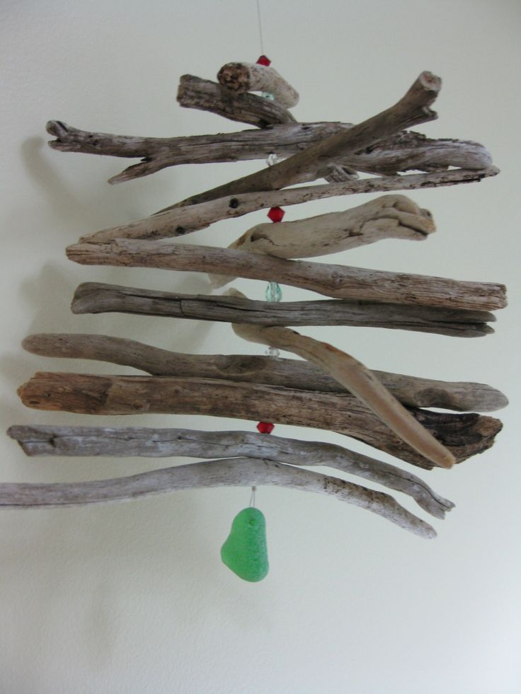 driftwood christmas decor, rustic driftwood mobile, Atlantic canada weathered driftwood decor, SeaglassWithATwist by SeaglassWithATwist on Etsy