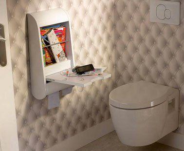 wc avec papier peint trompe l'oeil effet capitonne cuvette suspendu Idealsoft Leroy merlin