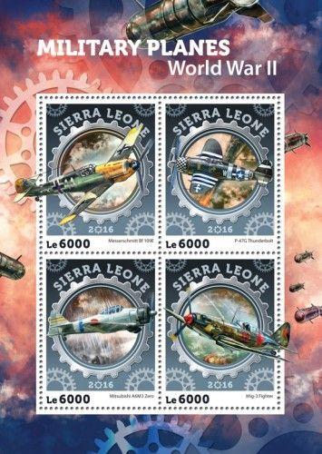 SRL16405a Military planes (WWII) (Messerschmitt Bf 109E; P-47G Thunderbolt; Mitsubishi A6M3 Zero; Mig-3 Fighter)