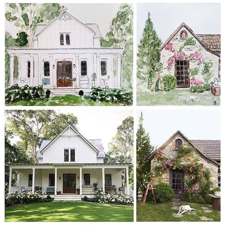 Pretty homes & their illustrated counterparts in watercolor and ink.  Photos via @countrylivingmag & @farmhouseforfour . 🏡 #art #painting #watercolor #farmhouse #dreamhome #cottage #home
