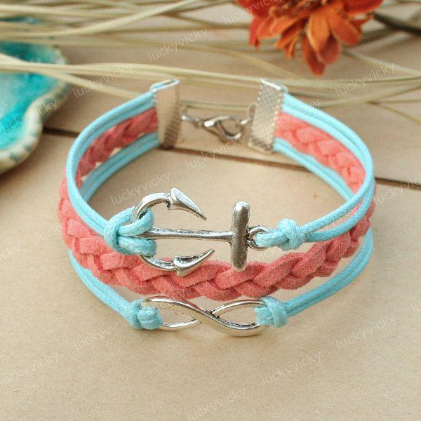 DIY Bracelet Inspiration: Infinity Bracelet-Infinity karma bracelet-Anchor bracelet