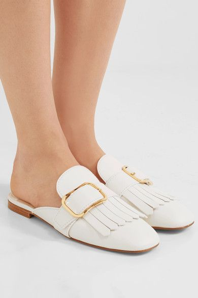 Prada - Fringed Leather Slippers - White - IT