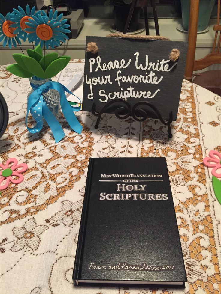 Guests write their favorite scripture down in a special book or family bible to inspire and uplift the receiver.