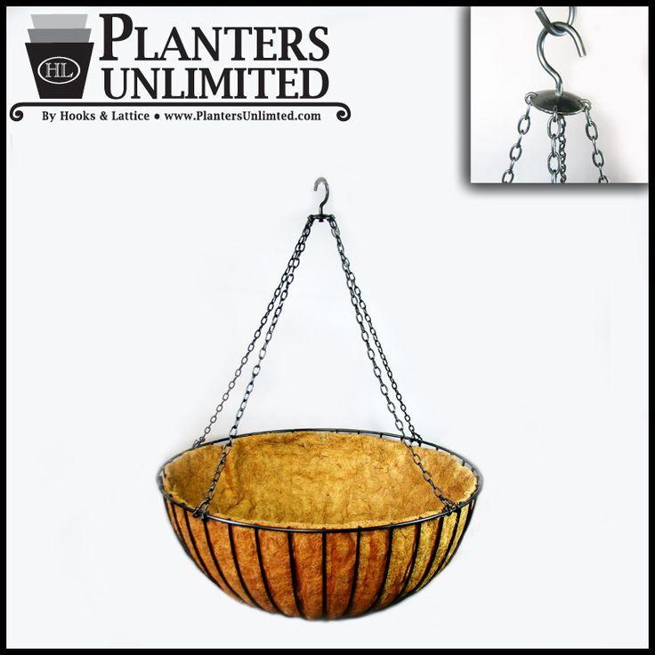 """24in. XL """"Mega"""" Hanging Flower Basket, Commercial Strength - includes Coconut Coir Liner"""