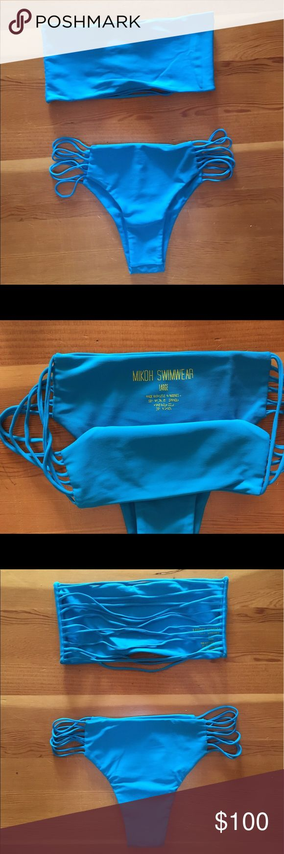 Mikoh Blue Bikini Blue bandeau Kauai top with stringed side bottoms. Large Bottoms with Small Top Mikoh Swim