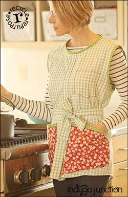 With Indygo Junction's Upcycled Apron just one man's shirt from the closet or the thrift store can be reassembled to create an upcycled new apron for women or men. Smock size is determined by the size of shirt you chose to upcycle. Apron Sizes: S-XL $13.99