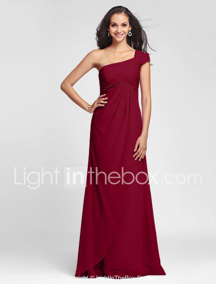 Funda / Columna Un Hombro Hasta el Suelo Raso Vestido de Dama de Honor con Recogido Lateral En Cruz por LAN TING BRIDE® 551416 2017 – $1,391.57