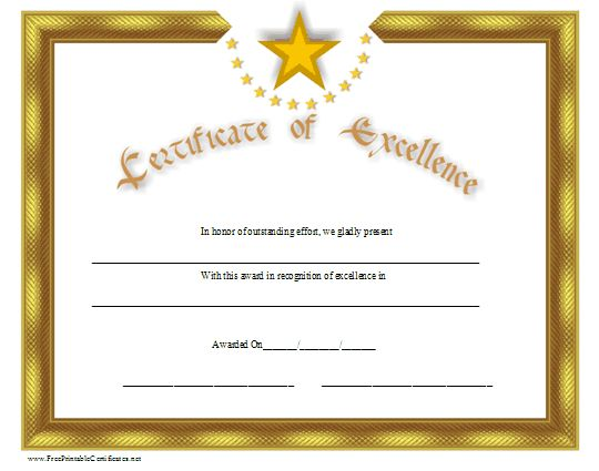 A gold certificate of excellence with distinctive stars ...