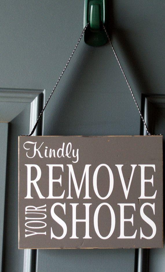 Kindly Remove Your Shoes custom door hanger wood by creativecatt, $15.00