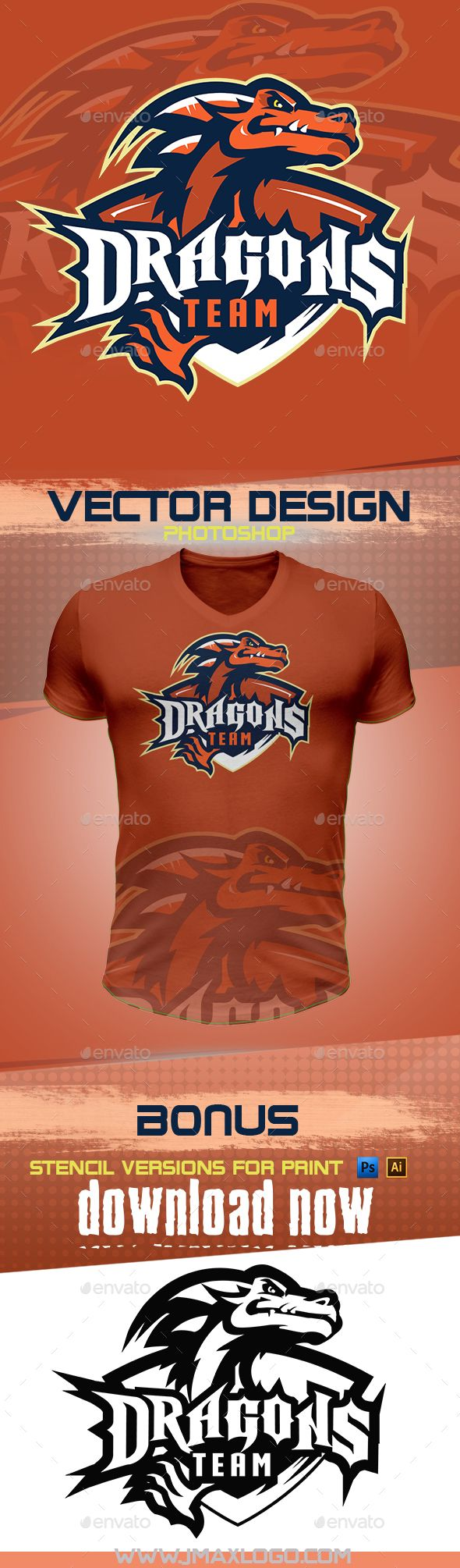 Dragons team Esports logo design pls check www.jmaxlogo.com for more sports mascot or hire me to get a custom design with your concept :-Dget it now here : https://graphicriver.net/item/dragons-mascot/18377259Dragons-teams