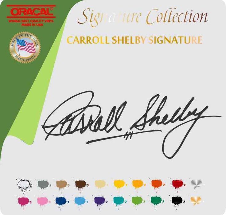 Carroll Shelby Signature Vinyl Sticker Decal Ford Cobra Race Mustang Track Carroll Shelby Shelby Vintage Mustang