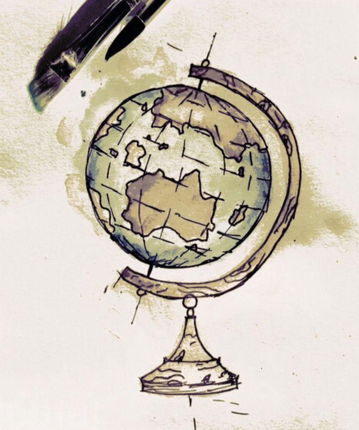 Dibujo globo terráqueo