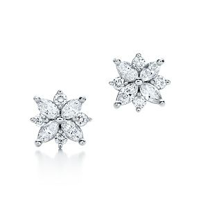 Pricey from Tiffany's but the design is super cute!  Tiffany & Co. | Item | Victoria cluster earrings with diamonds in platinum. | United States