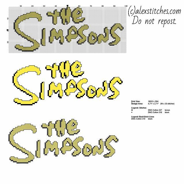 The Simpsons cartoon yellow and black logo free and simple cross stitch pattern
