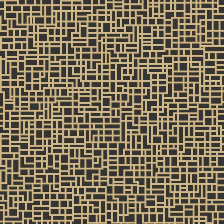 A stylish metallic gold geometric pattern on a black background, this embossed foil vinyl wallpaper has a beautiful reflective shimmer.