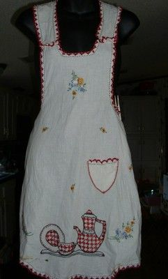1940's Full-Front Vintage Apron Lovely Embroidery Teapot Dishes  Flowers Needs 2 buttons Free US shipping