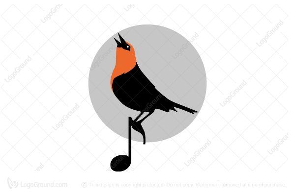 Logo for sale: Bird-on-note Logo