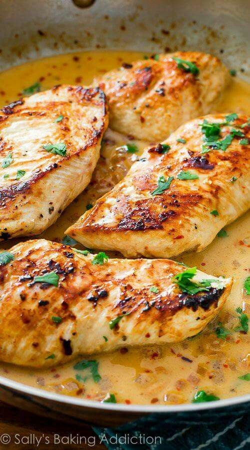 Skillet chicken with creamy cilantro lime sauce.