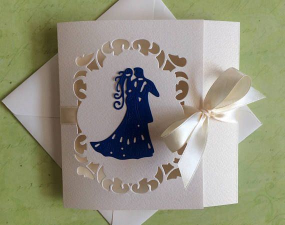 Wedding invitations handmade bride and groom