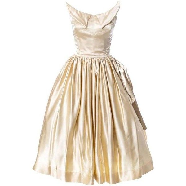 Preowned 1950s Vintage Dress Champagne Satin Winged Bust Wedding Peg... ($1,400) ❤ liked on Polyvore featuring dresses, wedding dresses, gowns and beige
