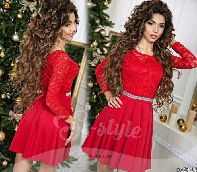 Праздничное женское платье с гипровым верхом и стразами юбка клеш красное