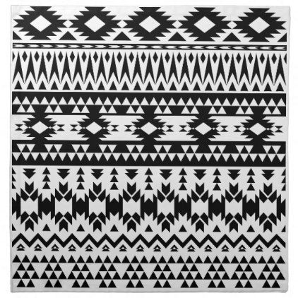 Boho flowers Black and White vector floral pattern Cloth Napkin - black and white gifts unique special b&w style