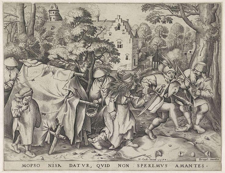 Pieter van der Heyden | Vuile bruid of de bruiloft van Mopsus en Nisa, Pieter van der Heyden, Hieronymus Cock, 1570 | Mopsus, de bruidegom met veren op zijn hoed, haalt zijn slonzige bruid Nisa al dansend op bij een haveloze tent. Een kleine jongen loopt naast de tent met een spaarpot in zijn hand. Rechts een muzikant met een mand als hoed op zijn hoofd, die muziek maakt met een mes en een kolenschop. Op de achtergrond een kasteel met slotgracht tussen de bomen. Onder de voorstelling een…