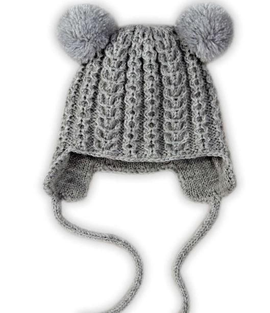 Earflap Pom Pom Kids Hat | This fun knit hat pattern will have any kid smiling.