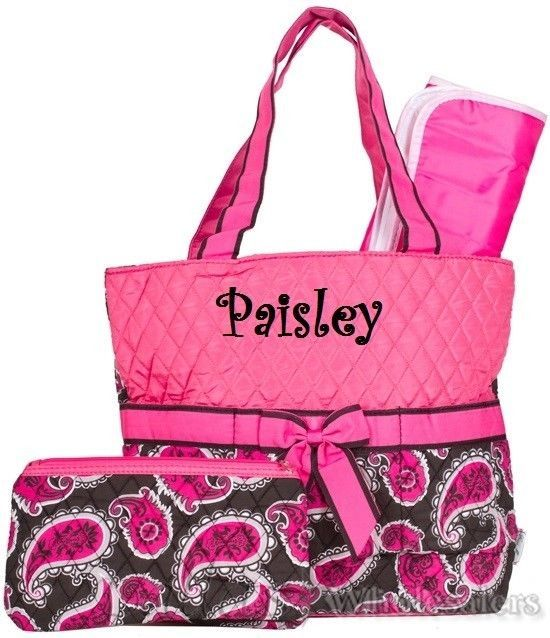 Personalize This 3 Piece Pink And Paisley Diaper Bag Set With Any Name Or Initials Tote Bags Pinterest