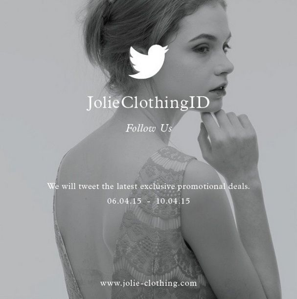 We will tweet you special promotions for featured products.  Stay tune, Ladies! #Jolie #JolieClothing #JolieTwitter #Clothingline #onlineshop #fashion