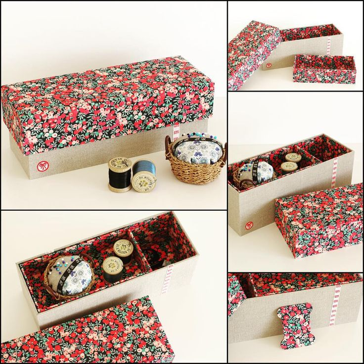 """""""August.7.2015 * Sewing box with Liberty """"Wiltshire"""", antique linen and laces. * * リバティ""""Wiltshire""""、アンティークリネン&レースのお裁縫箱。 過去のオーダー品です。 * *"""" - Thanks to @hanabee_inf"""