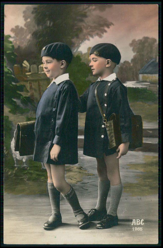 Child boys School uniform Beret & suitcase original old 1920s photo postcard
