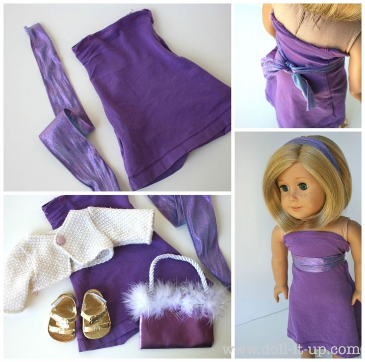Doll dress from t-shirt and ribbon/fabric for belt (no pattern)