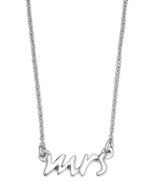 kate spade new york Necklace, Silver Tone Say Yes Mrs. Pendant Necklace - Silver