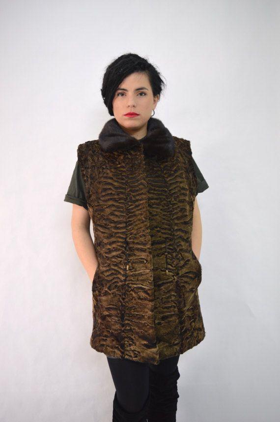 Real Persian fur vest brown fox fur  Swakara fur vest by BeFur